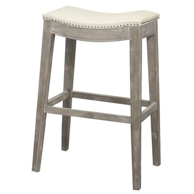 Lilly 31 Bar Stool Finish: Mystique Gray, Upholstery: Beige