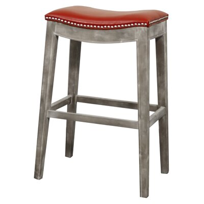 Lilly 31 Bar Stool Finish: Mystique Gray, Upholstery: Red