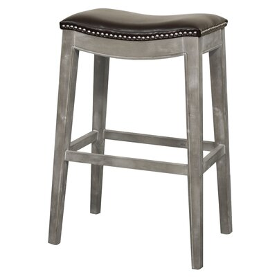 Lilly 31 Bar Stool Upholstery: Brown, Finish: Mystique Gray