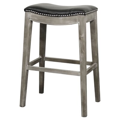 Lilly 31 Bar Stool Finish: Mystique Gray, Upholstery: Black