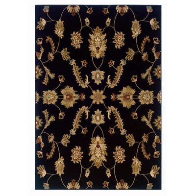 Leesville Traditional Design Black Area Rug Rug Size: Rectangle 92 x 126