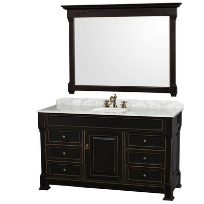 Andover 60 Single Black Bathroom Vanity Set with Mirror Top Finish: White Carrera Marble