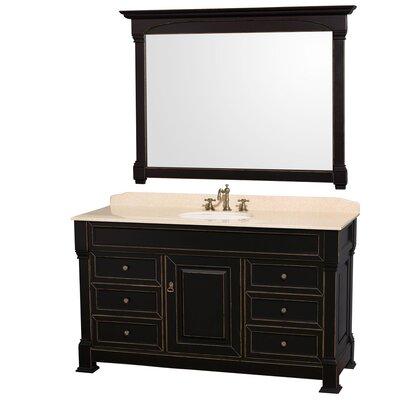 Andover 60 Single Black Bathroom Vanity Set with Mirror Top Finish: Ivory Marble