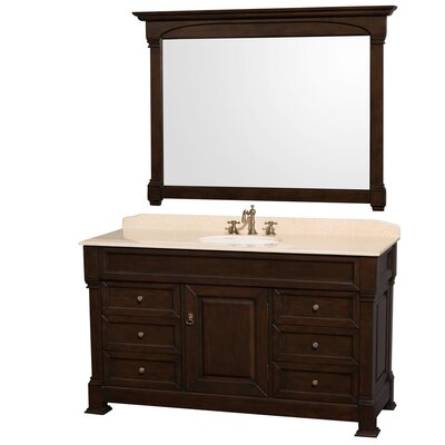 Andover 60 Single Dark Cherry Bathroom Vanity Set with Mirror Top Finish: Ivory Marble