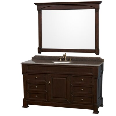 Andover 60 Single Dark Cherry Bathroom Vanity Set with Mirror Top Finish: Imperial Brown Granite