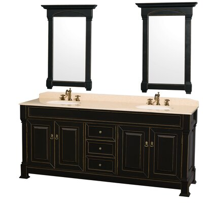 Andover 80 Double Black Bathroom Vanity Set with Mirror Top Finish: Ivory Marble