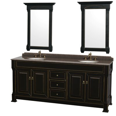 Andover 80 Double Black Bathroom Vanity Set with Mirror Top Finish: Imperial Brown Granite