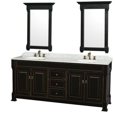 Andover 80 Double Black Bathroom Vanity Set with Mirror Top Finish: White Carrera Marble