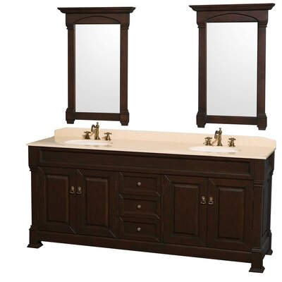 Andover 80 Double Dark Cherry Bathroom Vanity Set with Mirror Top Finish: Ivory Marble