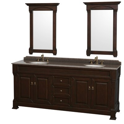 Andover 80 Double Dark Cherry Bathroom Vanity Set with Mirror Top Finish: Imperial Brown Granite