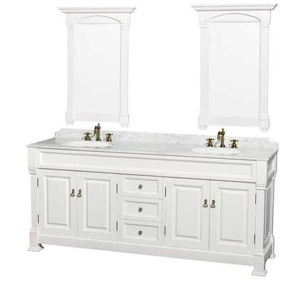 Andover 80 Double White Bathroom Vanity Set with Mirror Top Finish: White Carrera Marble