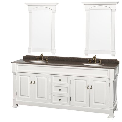 Andover 80 Double White Bathroom Vanity Set with Mirror Top Finish: Imperial Brown Granite