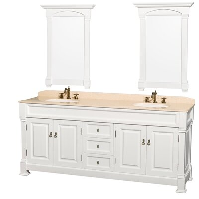 Andover 80 Double White Bathroom Vanity Set with Mirror Top Finish: Ivory Marble