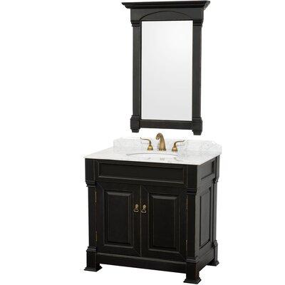 Andover 36 Single Antique Black Bathroom Vanity Set with Mirror Top Finish: White Carrera Marble