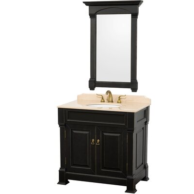 Andover 36 Single Antique Black Bathroom Vanity Set with Mirror Top Finish: Ivory Marble