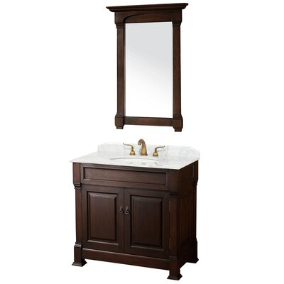 Andover 36 Single Dark Cherry Bathroom Vanity Set with Mirror Top Finish: White Carrera Marble
