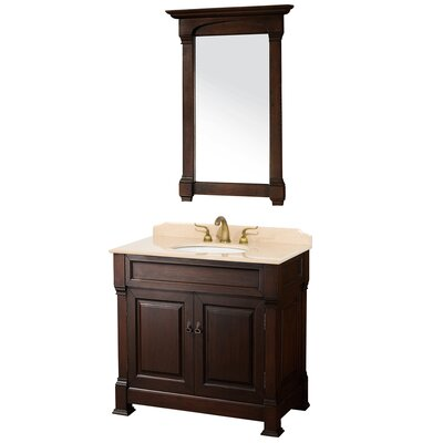 Andover 36 Single Dark Cherry Bathroom Vanity Set with Mirror Top Finish: Ivory Marble