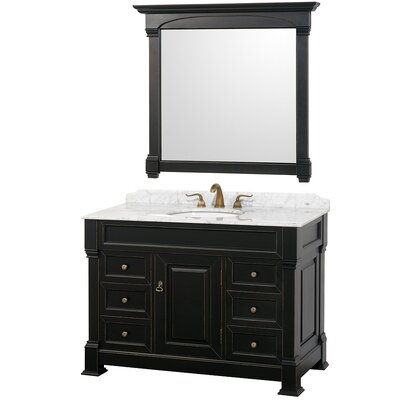 Andover 48 Single Antique Black Bathroom Vanity Set with Mirror Top Finish: White Carrera Marble