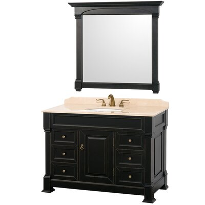 Andover 48 Single Antique Black Bathroom Vanity Set with Mirror Top Finish: Ivory Marble