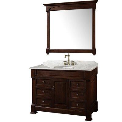 Andover 48 Single Dark Cherry Bathroom Vanity Set with Mirror Top Finish: White Carrera Marble