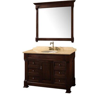Andover 48 Single Dark Cherry Bathroom Vanity Set with Mirror Top Finish: Ivory Marble