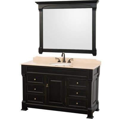 Andover 55 Single Antique Black Bathroom Vanity Set with Mirror Top Finish: Ivory Marble
