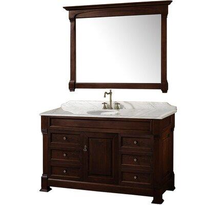 Andover 55 Single Dark Cherry Bathroom Vanity Set with Mirror Top Finish: White Carrera Marble