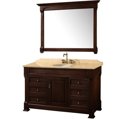 Andover 55 Single Dark Cherry Bathroom Vanity Set with Mirror Top Finish: Ivory Marble