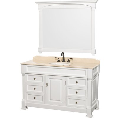Andover 55 Single White Bathroom Vanity Set with Mirror Top Finish: Ivory Marble