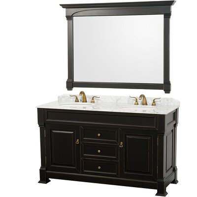 Andover 60 Double Antique Black Bathroom Vanity Set with Mirror Top Finish: White Carrera Marble