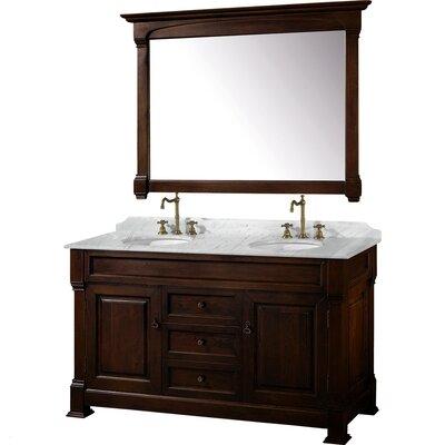 Andover 60 Double Dark Cherry Bathroom Vanity Set with Mirror Top Finish: White Carrera Marble