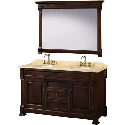 Andover 60 Double Dark Cherry Bathroom Vanity Set with Mirror Top Finish: Ivory Marble