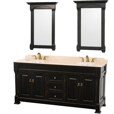 Andover 72 Double Antique Black Bathroom Vanity Set with Mirror Top Finish: Ivory Marble