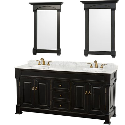 Andover 72 Double Antique Black Bathroom Vanity Set with Mirror Top Finish: White Carrera Marble