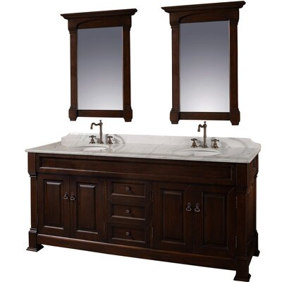 Andover 72 Double Dark Cherry Bathroom Vanity Set with Mirror Top Finish: White Carrera Marble