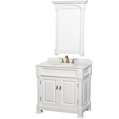 Andover 36 Single Bathroom Vanity Set with Mirror Top Finish: White Carrera Marble