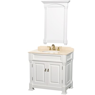Andover 36 Single Bathroom Vanity Set with Mirror Top Finish: Ivory Marble