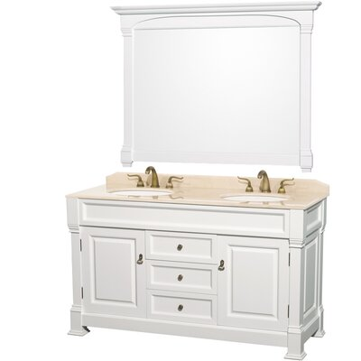 Andover 60 Double Bathroom Vanity Set with Mirror Top Finish: Ivory Marble