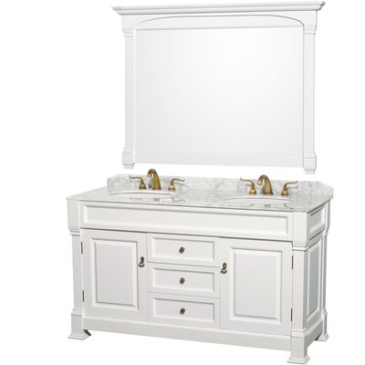 Andover 60 Double Bathroom Vanity Set with Mirror Top Finish: White Carrera Marble