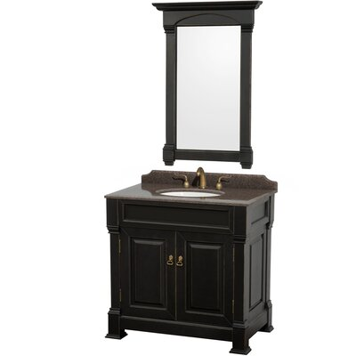 Andover 36 Single Black Bathroom Vanity Set with Mirror