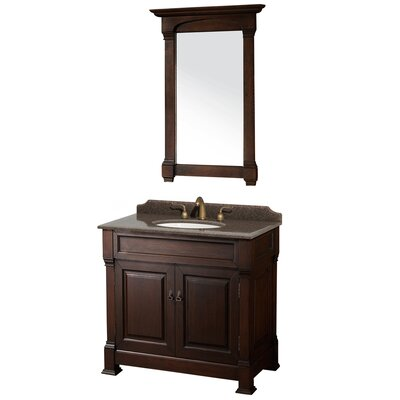 Andover 36 Single Dark Cherry Bathroom Vanity Set with Mirror