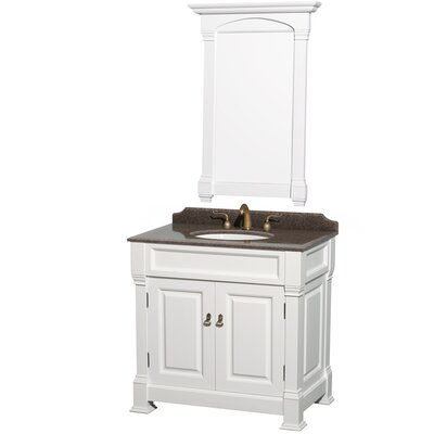 Andover 36 Single White Bathroom Vanity Set with Mirror
