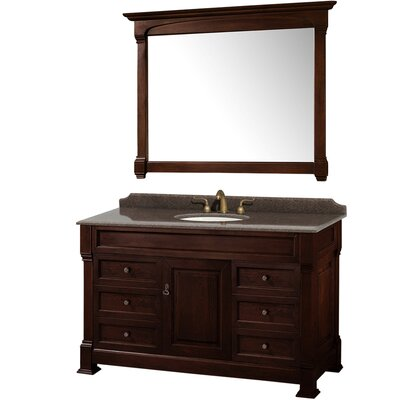 Andover 55 Single Dark Cherry Bathroom Vanity Set with Mirror
