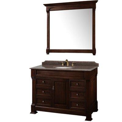 Andover 48 Single Dark Cherry Bathroom Vanity Set with Mirror