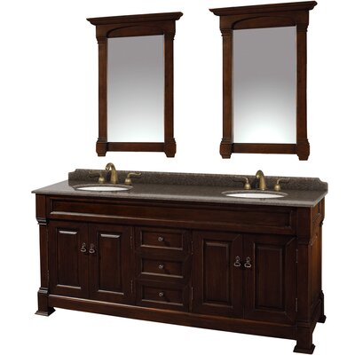 Andover 72 Double Dark Cherry Bathroom Vanity Set with Mirror