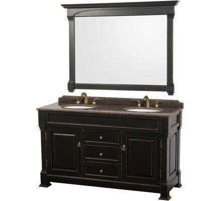 Andover 60 Double Black Bathroom Vanity Set with Mirror