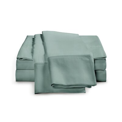 Estela 1200 Thread Count Egyptian-Quality Cotton Pillow Case Size: Standard, Color: Teal