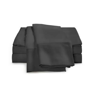 Estela 1200 Thread Count Egyptian-Quality Cotton Sheet Set Size: Queen, Color: Charcoal
