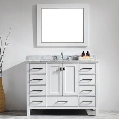 Rosalinda 48 Single Vanity Set with Mirror Base Finish: White