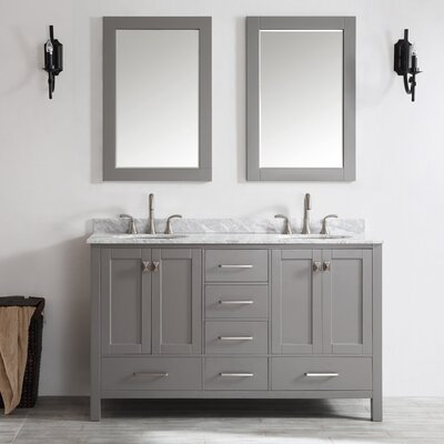 Rosalinda 60 Double Vanity Set with Mirror Base Finish: Gray